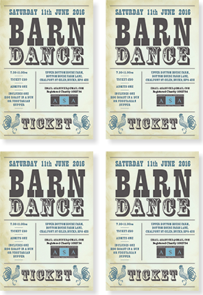 Graphic image showing barn dance ticket design for Amersham School Association created by Creatif Design
