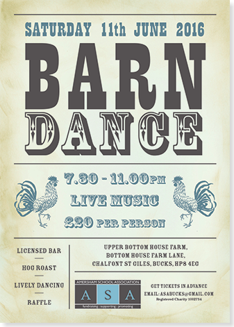 Graphic image showing barn dance poster for Amersham School Association created by Creatif Design