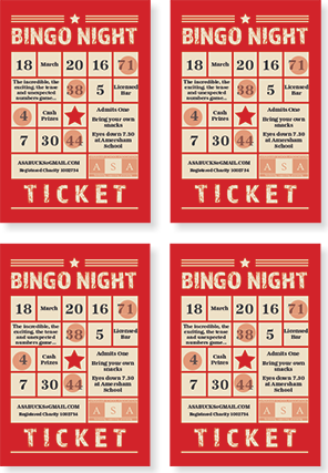 Graphic image showing bingo night ticket design for Amersham School Association created by Creatif Design