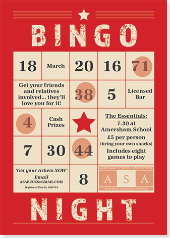 Graphic image showing bingo night poster for Amersham School Association created by Creatif Design