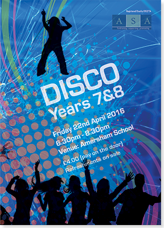 Graphic image showing school disco poster for Amersham School Association created by Creatif Design