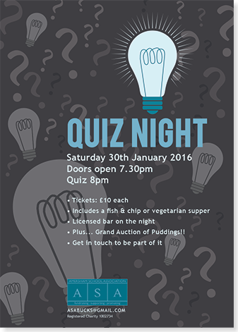 Graphic image showing quiz night poster design for Amersham School Association created by Creatif Design