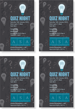 Graphic image showing quiz night ticket design for Amersham School Association created by Creatif Design