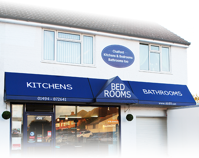 Photograph showing shop front signage displaying Chalfont Kitchens and Bedrooms, bathrooms too logo updated by Creatif Design