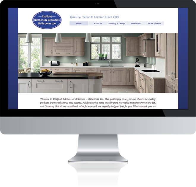 Graphic image showing Apple Mac computer displaying Chalfont Kitchens and Bedrooms website designed and developed by Creatif Design