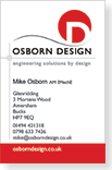 Graphic image showing a business card design incorporating the Osborn Design Ltd brand logo designed by Creatif Design
